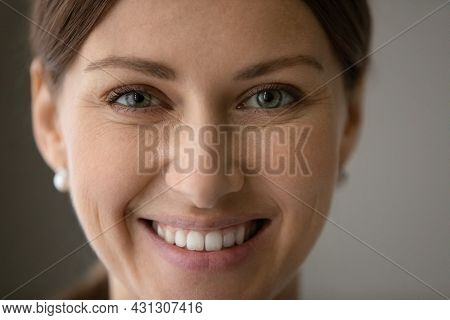 Head Shot Close Up Portrait Beautiful Woman With Toothy Smile