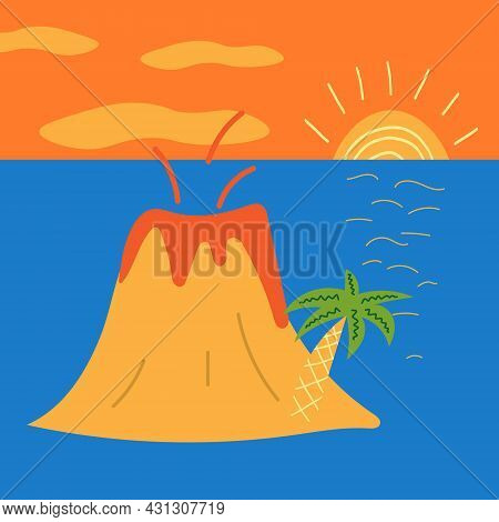 Flat Vector Illustration Of Rooftop Terrace Bar Lounge With Light Bulb Garlands At Day Time And City