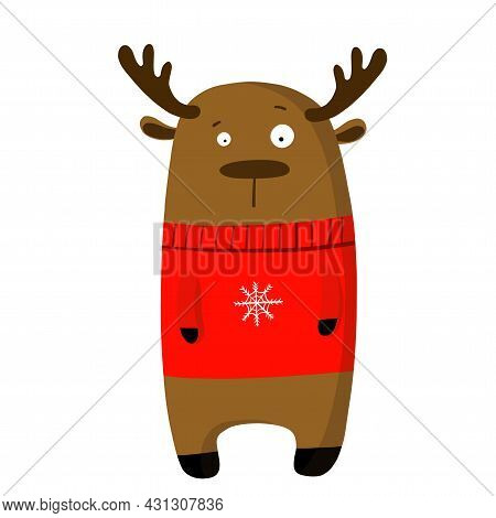 Cute Funny Deer In Sweater, Vector Clipart, Childrens Funny Illustration With Cartoon Character