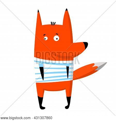 Cute Funny Fox In T-shirt, Vector Clipart, Childrens Funny Illustration With Cartoon Character