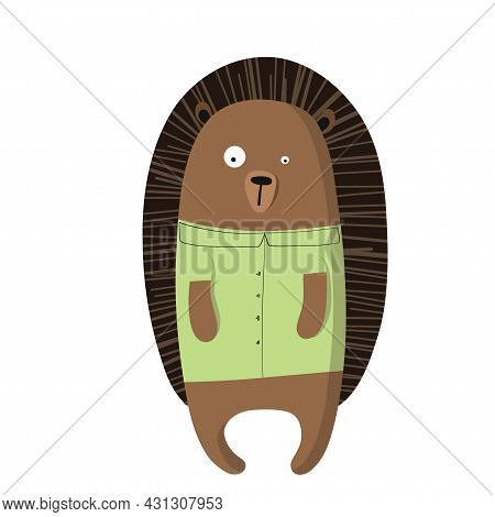 Cute Funny Hedgehog In T-shirt, Vector Clipart, Childrens Funny Illustration With Cartoon Character
