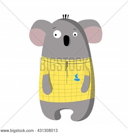 Cute Funny Koala In T-shirt, Vector Clipart, Childrens Funny Illustration With Cartoon Character