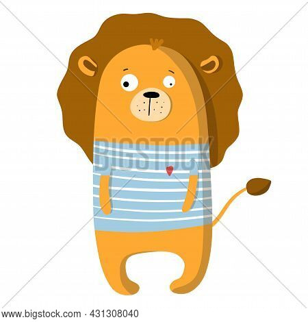 Cute Funny Lion In T-shirt, Vector Clipart, Childrens Funny Illustration With Cartoon Character