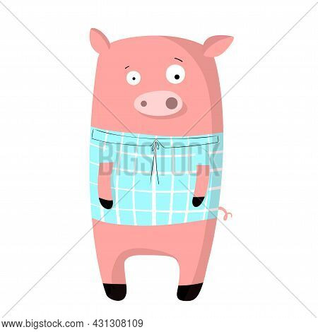 Cute Funny Pig In T-shirt, Vector Clipart, Childrens Funny Illustration With Cartoon Character