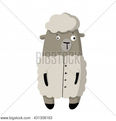 Cute Funny Sheep In Wool Coat, Vector Clipart, Childrens Funny Illustration With Cartoon Character