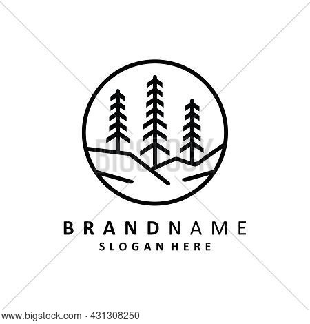 Pine Tree Logo Vector. Evergreen Pines Fir Conifer Hemlock Tree Forest And Creek River For Camp Adve