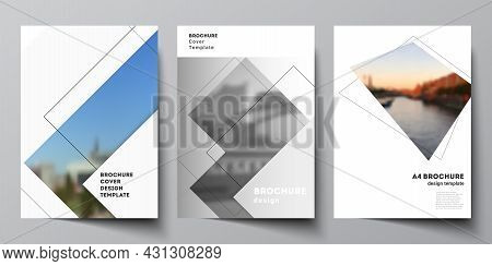 Vector Layout Of A4 Format Cover Mockups Design Templates With Geometric Simple Shapes, Lines And Ph