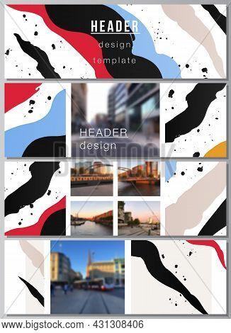 Vector Layout Of Headers, Banner Design Templates For Website Footer Design, Horizontal Flyer Design
