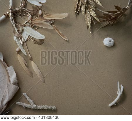 Craft Paper Background With Boho Chic Style Decorations: Embroidery Hoop, Dreamcatcher, Golden Wreat