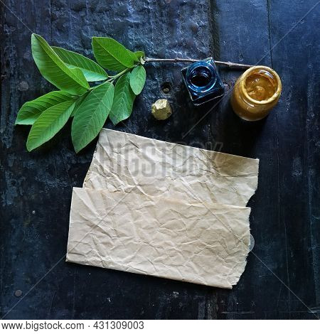 Craft Paper Background With Boho Chic Style Decorations: Sketchbook, Tree Branch, Golden Paint, Ink