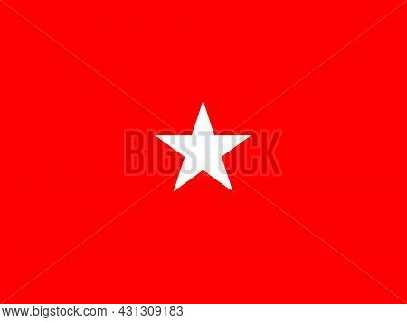 The Flag Of A Usa Army Brigadier General Of A White Star Over A Red Background