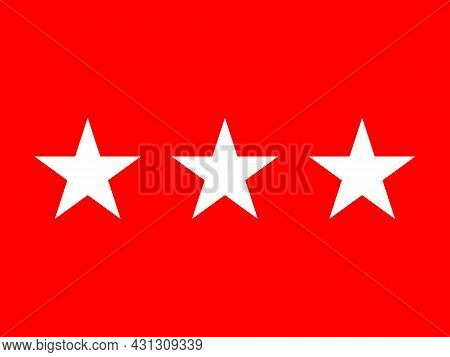The Flag Of A Usa Army Lieutenant General Of A Tri Of White Stars Set Over A Red Background
