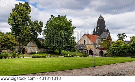 Bad Bentheim, Germany - August 25, 2021: Courtyard And Buildings Bentheim Castle In Nordrhine Westfa
