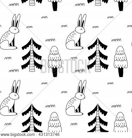 Doodle Hare Seamless Pattern. Hand Drawn Line Scandinavian Style Black And White Print, Cute Scandi
