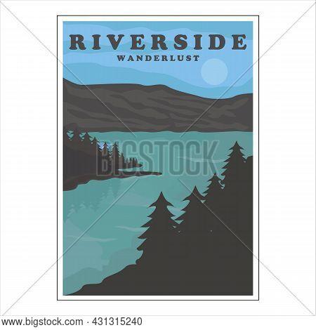 Riverside Or Lake Vintage Poster Vector Background Illustration Template Design. Adventure At The Na