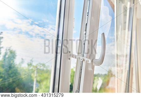 Opened Plastic Window Frame. Plastic Window Installation. Apartment Ventilation Through Window. Sunn