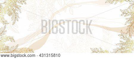 Luxurious Golden Autumn Wallpaper With Rowan On A White Background. Shiny Branch Of Mountain Ash. Mo
