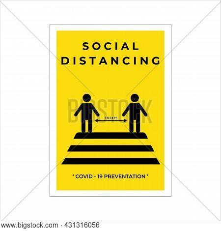 Social Distancing Minimalist Poster Illustration Template Design