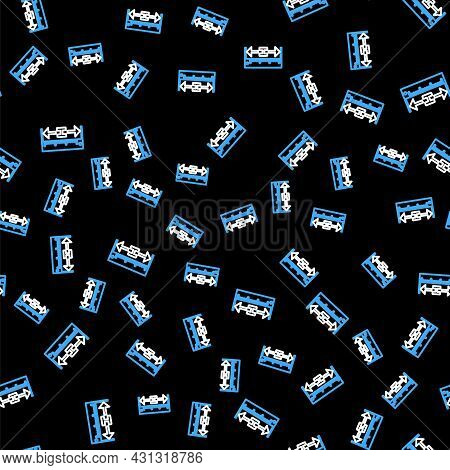 Line The Measuring Height And Length Icon Isolated Seamless Pattern On Black Background. Ruler, Stra