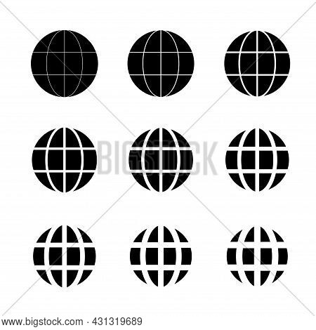 Www World Wide Web Set Site Symbol, Internet Collection Icon, Website Address Globe, Flat Outline Si