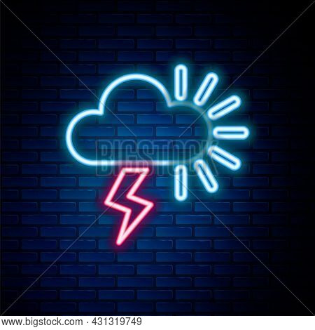 Glowing Neon Line Storm Icon Isolated On Brick Wall Background. Cloudy With Lightning And Sun Sign.