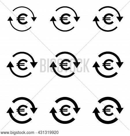 Set Of Euro Money Icon, Collection Of Eu Business Sign, Market Economy Vector Illustration .