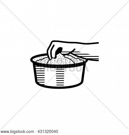 Hand Stirring Bowl Of Rice Powder For Making Kerala Puttu Also Known Rice Steam Cake Outline Sketch