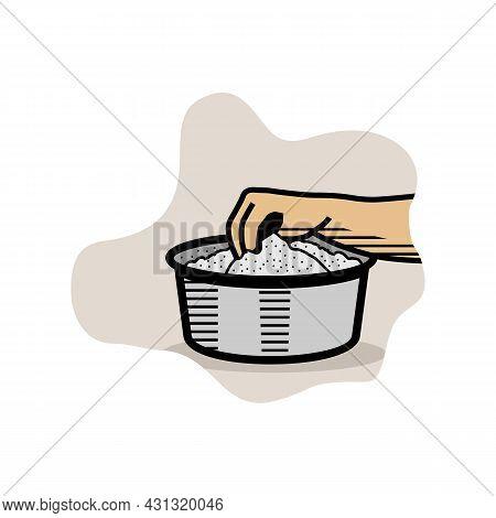 Hand Stirring Bowl Of Rice Powder For Making Kerala Puttu Also Known Rice Steam Cake