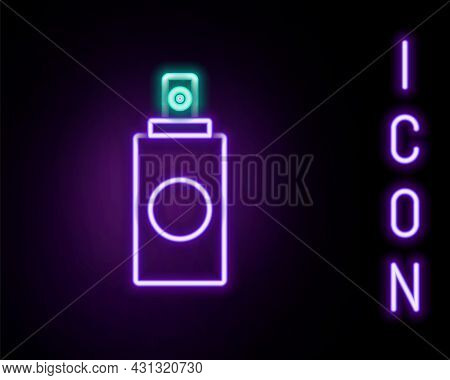 Glowing Neon Line Spray Can For Air Freshener, Hairspray, Deodorant, Antiperspirant Icon Isolated On