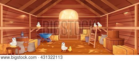 Cartoon Barn Interior With Chickens, Straw And Hay. Farm House Inside View. Traditional Wooden Ranch