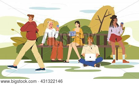 Flat Illustration Of Young People Sitting On Bench In City Park And Using Tablet, Phone, Laptop. Man