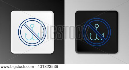 Line No Fishing Icon Isolated On Grey Background. Prohibition Sign. Colorful Outline Concept. Vector