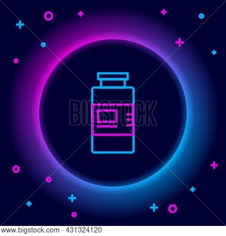 Glowing Neon Line Collagen Serum And Vitamin Icon Isolated On Black Background. Facial Treatment Ess