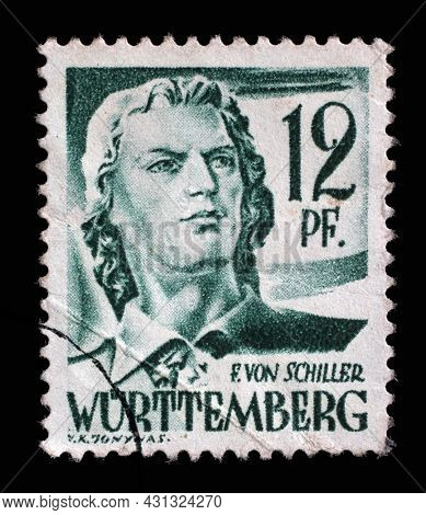 ZAGREB, CROATIA - JUNE 22, 2014: Stamp printed in Germany, French Occupation of Wurttemberg shows Friedrich von Schiller, poet and writer, circa 1947