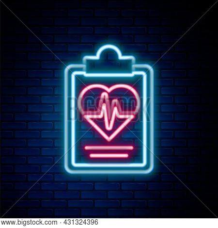 Glowing Neon Line Health Insurance Icon Isolated On Brick Wall Background. Patient Protection. Secur