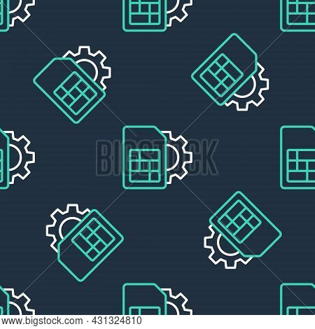 Line Sim Card Setting Icon Isolated Seamless Pattern On Black Background. Mobile Cellular Phone Sim