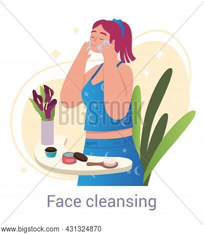 Facial Cleansing Concept. Woman Stands In Bathroom And Applies Cleansing Cream To Skin. Removal Of D