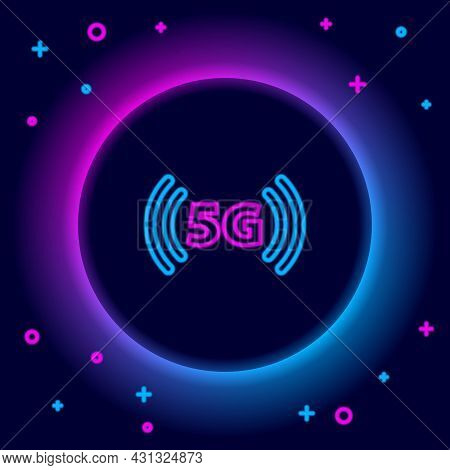 Glowing Neon Line 5g New Wireless Internet Wifi Connection Icon Isolated On Black Background. Global