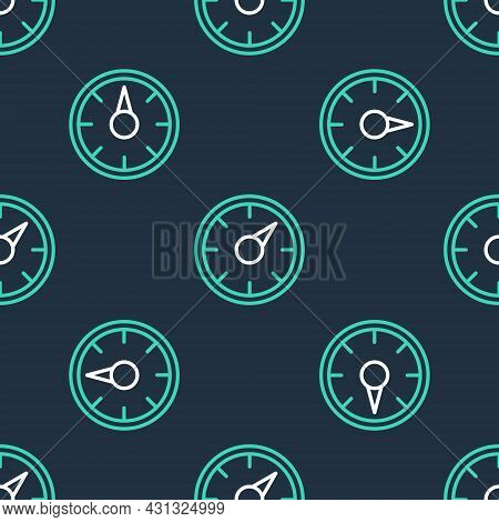 Line Digital Speed Meter Concept With 5g Icon Isolated Seamless Pattern On Black Background. Global