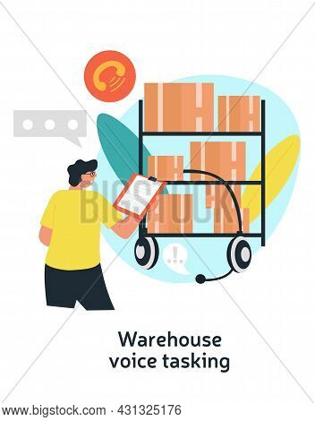 Warehouse Voise Tasking. Man With Large To Do List Announces Tasks To Employees. Distribution And St