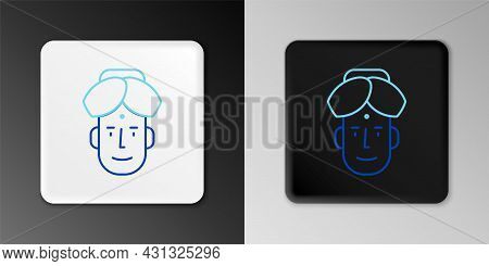Line Portrait Of Indian Man Icon Isolated On Grey Background. Hindu Men. Colorful Outline Concept. V
