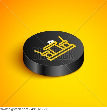 Isometric Line French Cafe Icon Isolated On Yellow Background. Street Cafe. Table And Chairs. Black