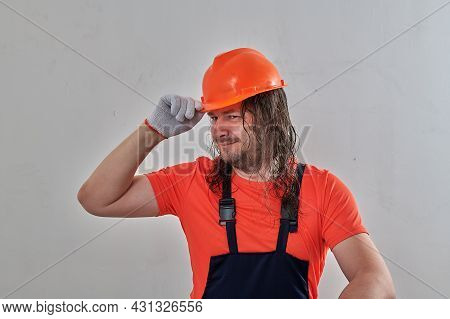 Male Construction Worker Having Fun At Construction Site