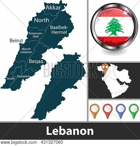 Map Of Lebanon With The Newest Governorates And Location On Map Of West Asia. Vector Image