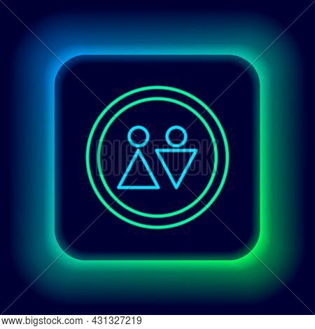 Glowing Neon Line Toilet Icon Isolated On Black Background. Wc Sign. Washroom. Colorful Outline Conc