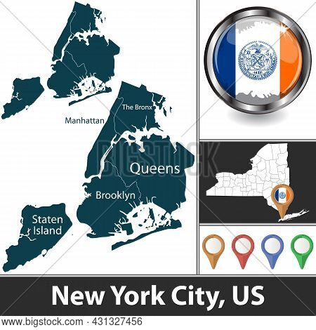 New York City With Boroughs And Location On New York State Map. Vector Image