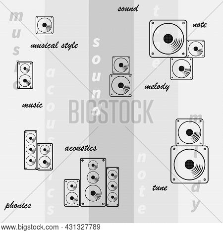 Seamless Pattern Of Images Of Acoustic Systems And Speakers In Gray Tones For Studio Interiors And P