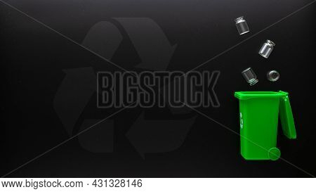 Trash Glass Recycle. Bin Container For Disposal Garbage Waste And Save Environment. Green Dustbin Fo