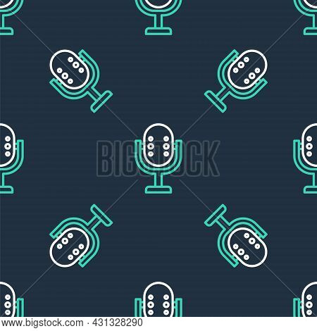 Line Microphone Icon Isolated Seamless Pattern On Black Background. On Air Radio Mic Microphone. Spe