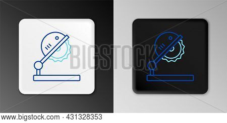Line Table Saw For Woodwork Icon Isolated On Grey Background. Power Saw Bench. Colorful Outline Conc